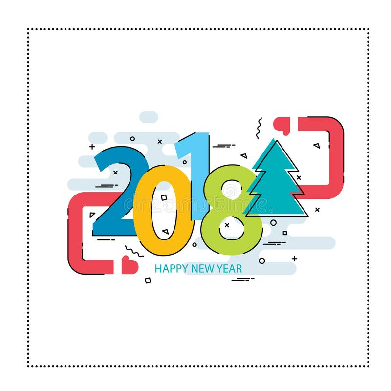 Nowy Rok 2018 i Bożenarodzeniowy mieszkanie linii projekt royalty ilustracja