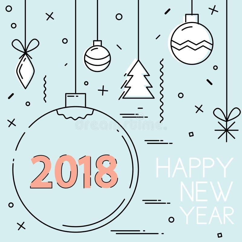 Nowy Rok 2018 i Bożenarodzeniowy mieszkanie linii projekt ilustracji