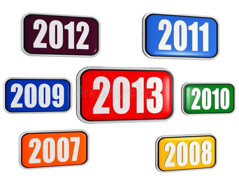 Nowy rok i poprzedni rok w sztandarach 2013 ilustracji
