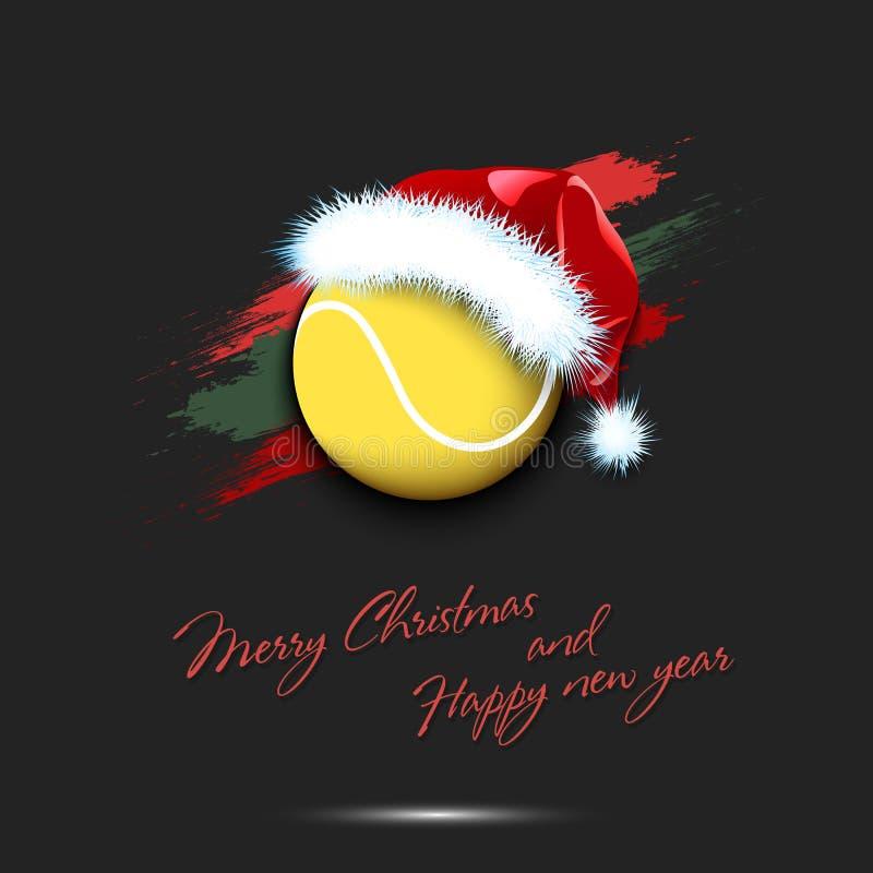 Nowy rok i tenisowa piłka w Santa kapeluszu ilustracja wektor