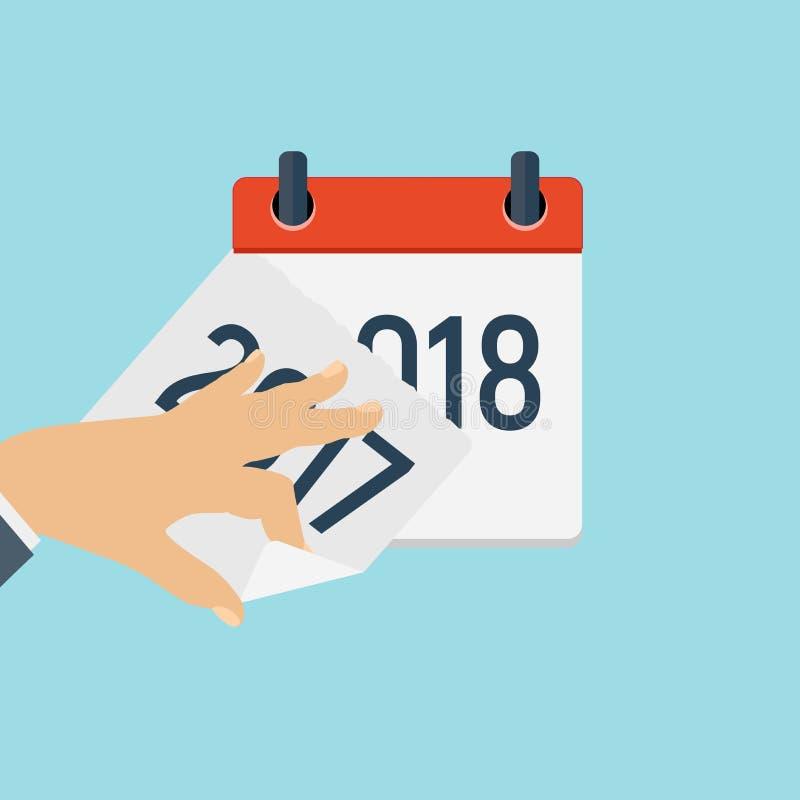 2018 nowy rok ikony Kalendarzowy Płaski Dzienny szablon Wektorowy ilustracyjny emblemat Element projekt dla dekoraci biura ilustracja wektor