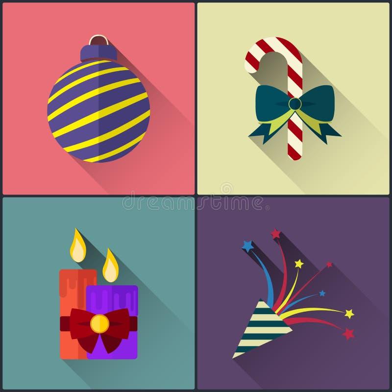 Nowy rok ikony paczka zawrzeć boże narodzenia piłka, cukierek, świeczki i komedia slapstickowa, ilustracji