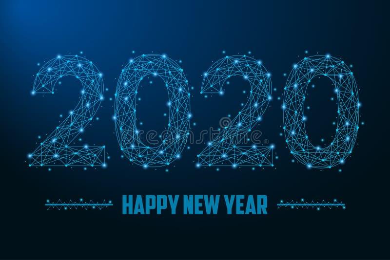 2020 nowy rok ilustracja robić punktami i liniami, poligonalna wireframe siatka na nocnym niebie ilustracja wektor
