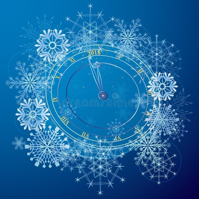 Nowy Rok ilustracja z zegarem ilustracja wektor