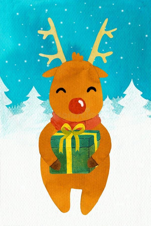 Nowy rok jeleni Rudolf z prezentem ilustracja wektor