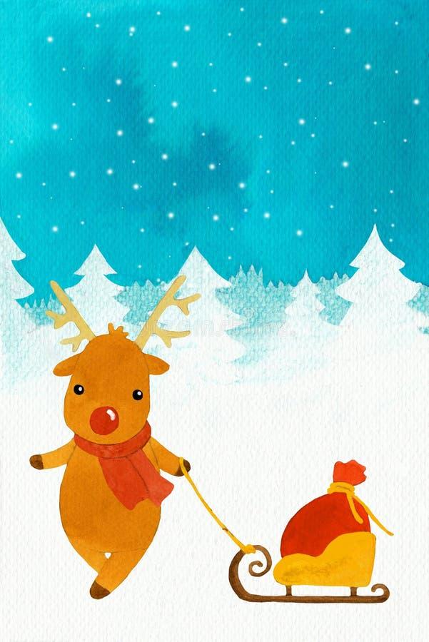 Nowy rok jeleni Rudolf z saniem i torbą royalty ilustracja