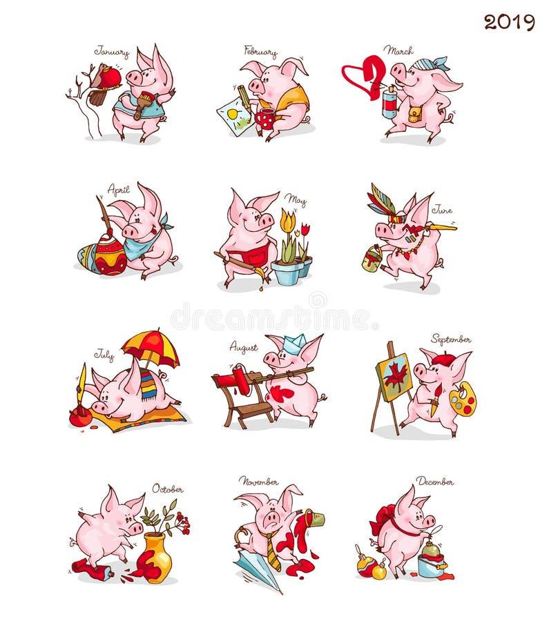 nowy rok, Kalendarz z świniami chiński nowy rok 12 miesiąca z śmiesznymi prosiaczkami Świnia jest symbolem 2019 ilustracji