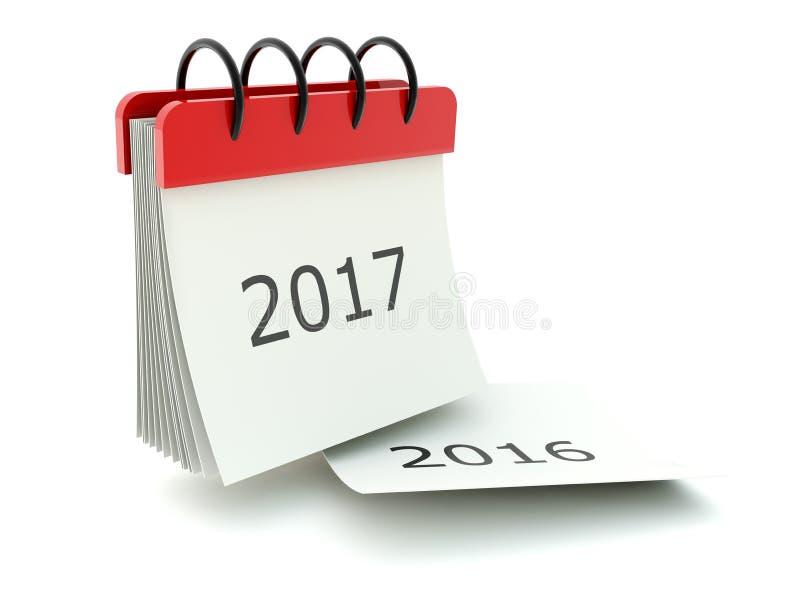 2017 nowy rok kalendarzowa ikona na bielu royalty ilustracja