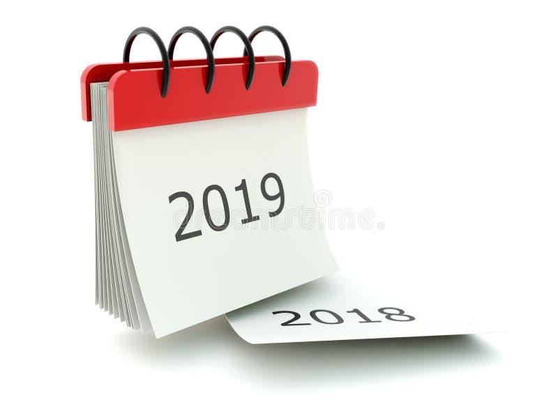 2019 nowy rok kalendarzowa ikona odizolowywająca na bielu ilustracja wektor