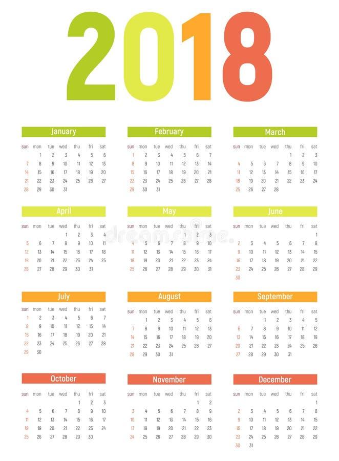 2018 nowy rok Kalendarzowa Wektorowa ilustracja royalty ilustracja