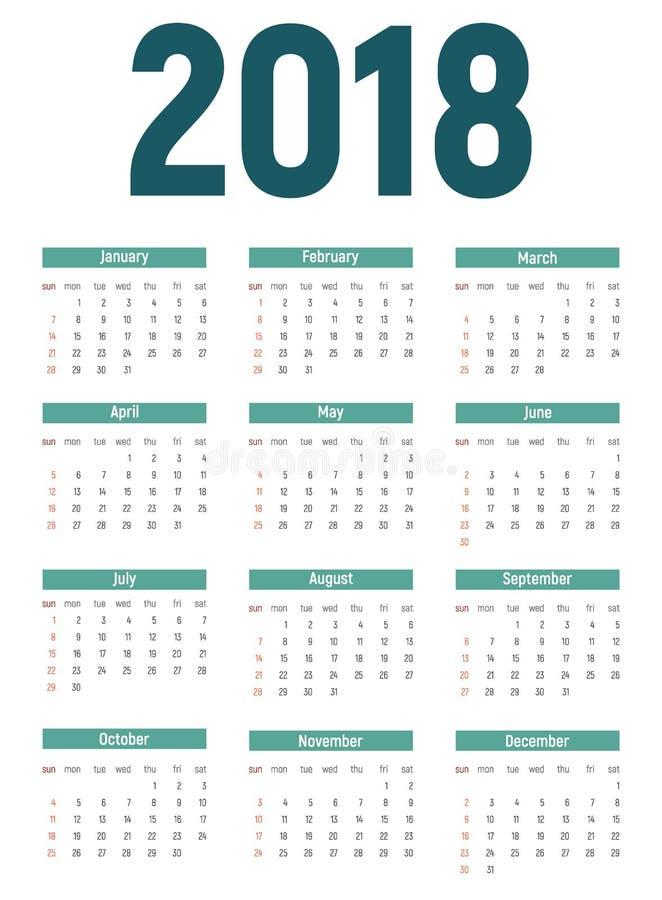 2018 nowy rok Kalendarzowa Wektorowa ilustracja ilustracja wektor