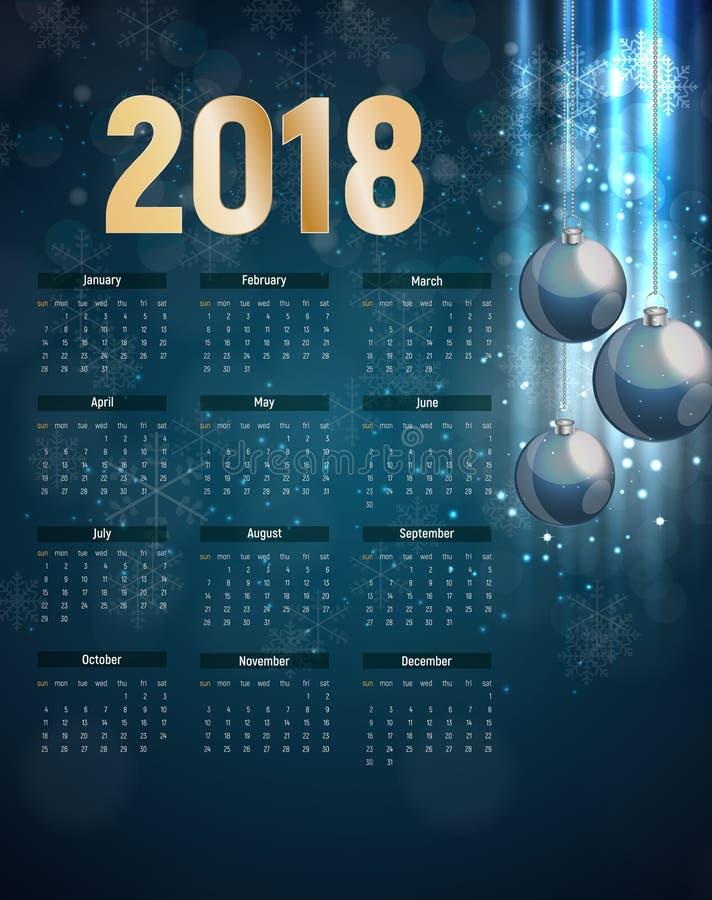 2018 nowy rok Kalendarzowa Wektorowa ilustracja ilustracji