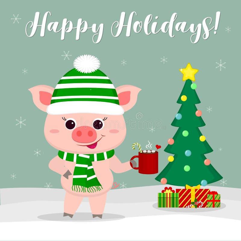 nowy rok karcianych bożych narodzeń komputerowy designe grafiki nowy rok Śliczna świnia trzyma filiżankę w szaliku, kapeluszu i i royalty ilustracja
