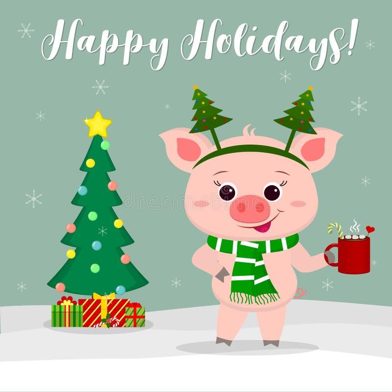 nowy rok karcianych bożych narodzeń komputerowy designe grafiki nowy rok Śliczna świnia w choinka kostiumu, trzymający filiżankę  ilustracji