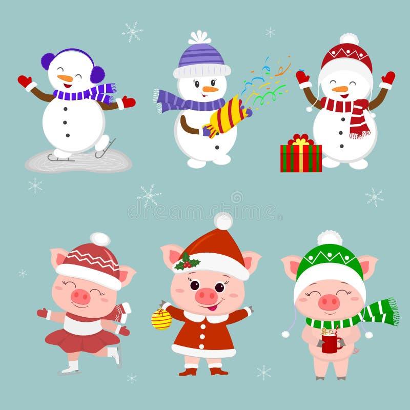 nowy rok karcianych bożych narodzeń komputerowy designe grafiki nowy rok Set trzy bałwanu, trzy świni charakter w różnych kapelus ilustracji