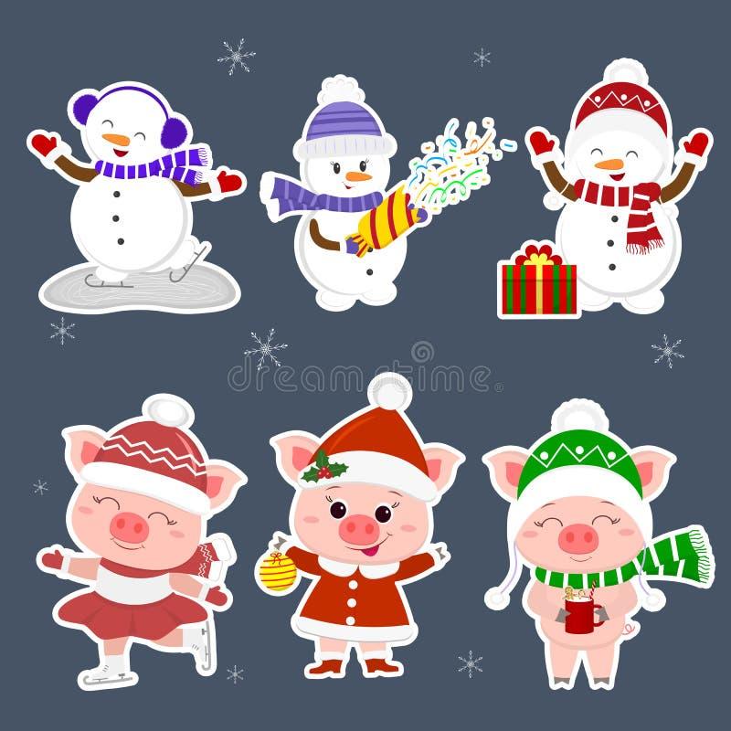 nowy rok karcianych bożych narodzeń komputerowy designe grafiki nowy rok Ustalony majcher trzy bałwanu i trzy świni charakter w r royalty ilustracja