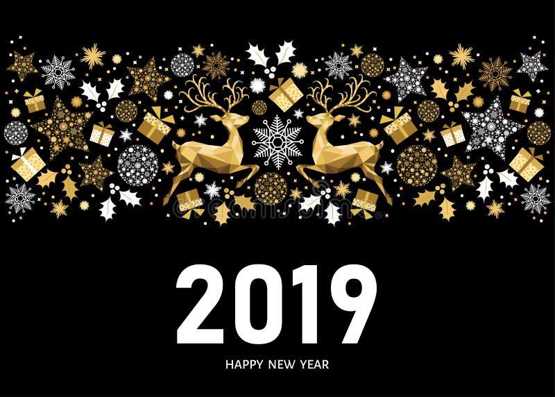 2019 nowy rok karta na czarnym tle z złotym wzorem ilustracji