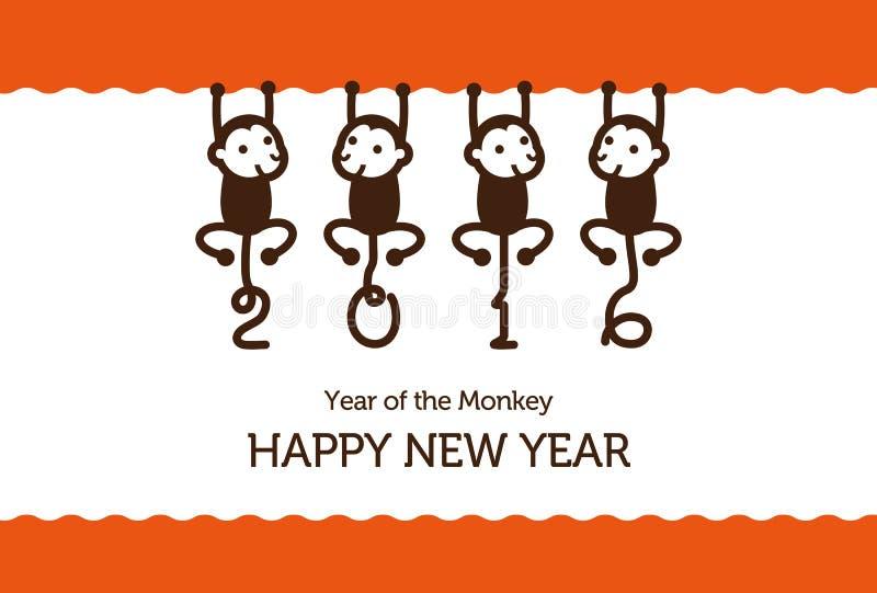 Nowy Rok karta z małpami