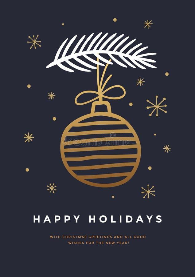 Nowy Rok karta z pociągany ręcznie Bożenarodzeniową piłką i gałąź choinką na ciemnym tle ilustracja wektor