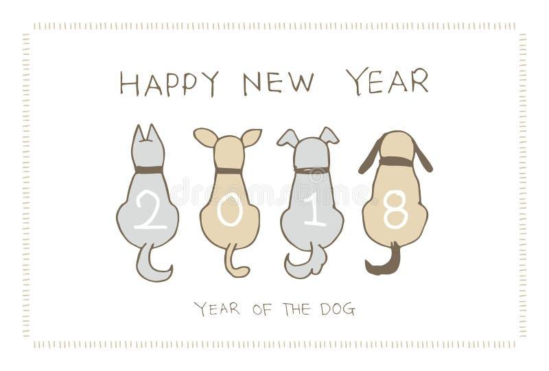 Nowy Rok karta z psami dla 2018 ilustracja wektor