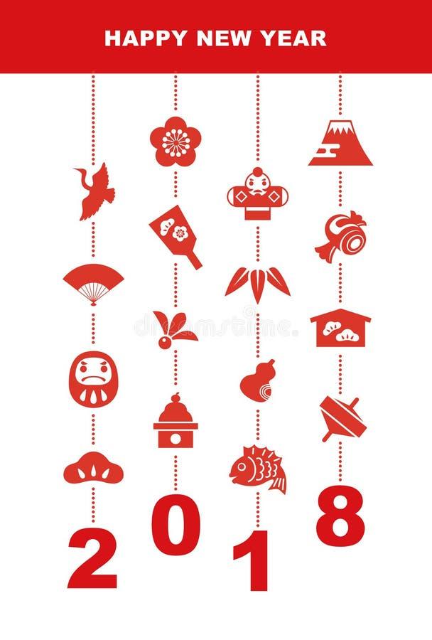 2018 nowy rok karta z szczęście elementami ilustracji