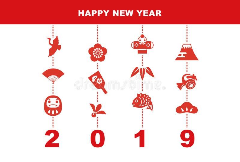2019 nowy rok karta z szczęście elementami ilustracji
