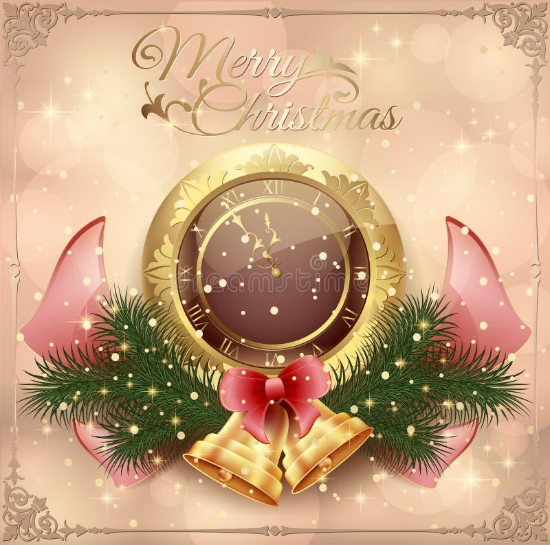 Nowy Rok karta z zegarem i dekoracje z zabawkami, łękiem i ramą, ilustracji