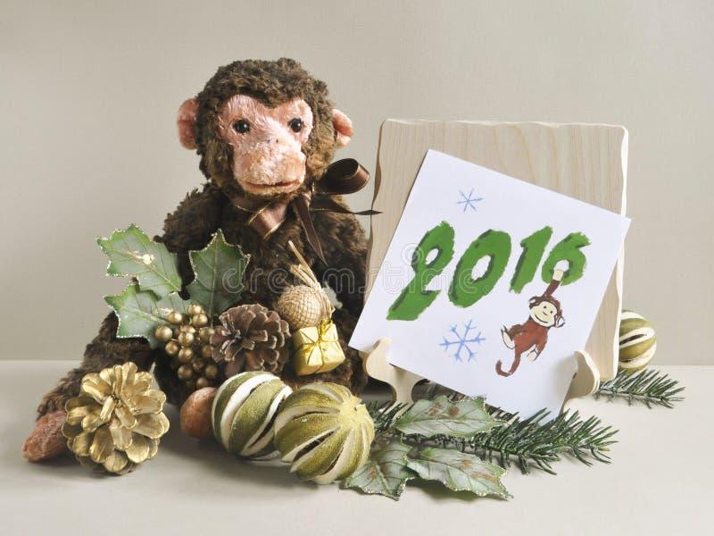 Nowy Rok karta 2016 Zabawkarska małpa obraz stock