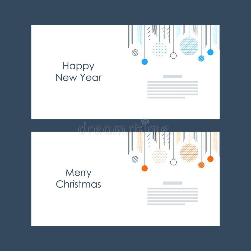 Nowy Rok, kartka bożonarodzeniowa szablon Xmas dekoraci minimalistic wektor royalty ilustracja