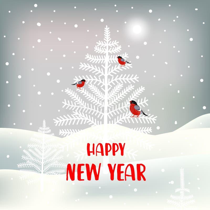 Nowy Rok kartka z pozdrowieniami z ślicznym charakterem Tło z gilem, choinkami, krajobrazem i opad śniegu, ilustracji