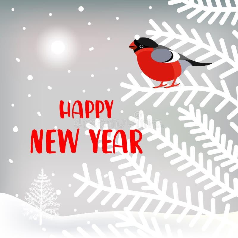 Nowy Rok kartka z pozdrowieniami z ślicznym charakterem Tło z gilem, choinkami, krajobrazem i opad śniegu, ilustracja wektor