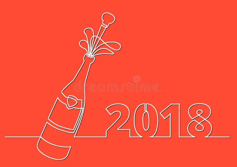 Nowy Rok 2018 kartka z pozdrowieniami z szampańską butelką z strzelanina korkiem ilustracji