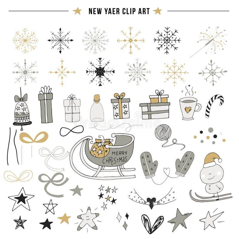 Nowy rok klamerki sztuka Duży set ręki rysować Bożenarodzeniowe dekoracje i elementy również zwrócić corel ilustracji wektora ilustracji