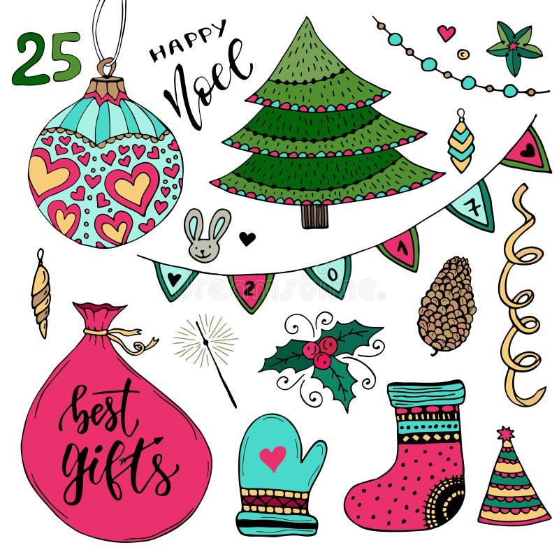 Nowy Rok kolekcja dekoracje Bożenarodzeniowi Wektorowi elementy Nowy rok kolorowa ilustracja ilustracja wektor