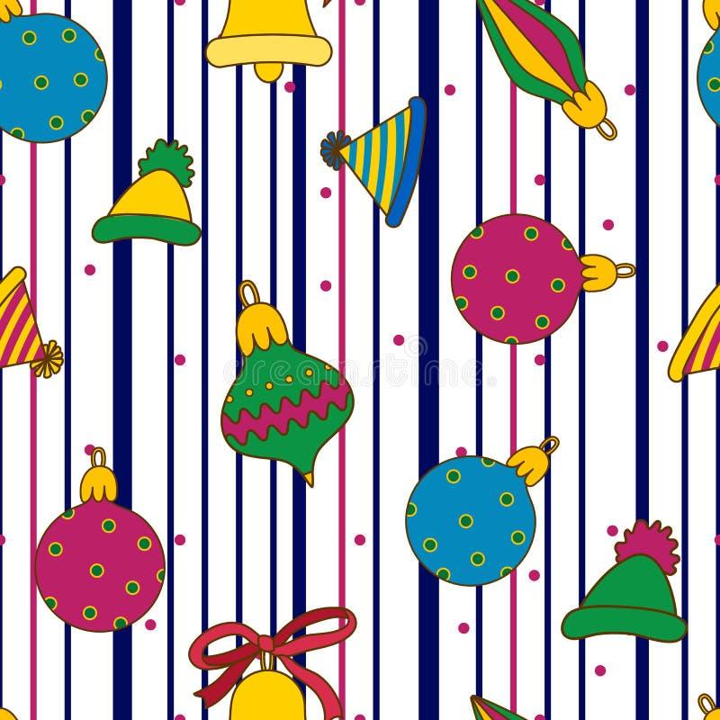 Nowy Rok kolorowe piłki, kapelusze, dzwony na białym pasiastym backround Śliczny bezszwowy wzór dla zima wakacji ilustracja wektor