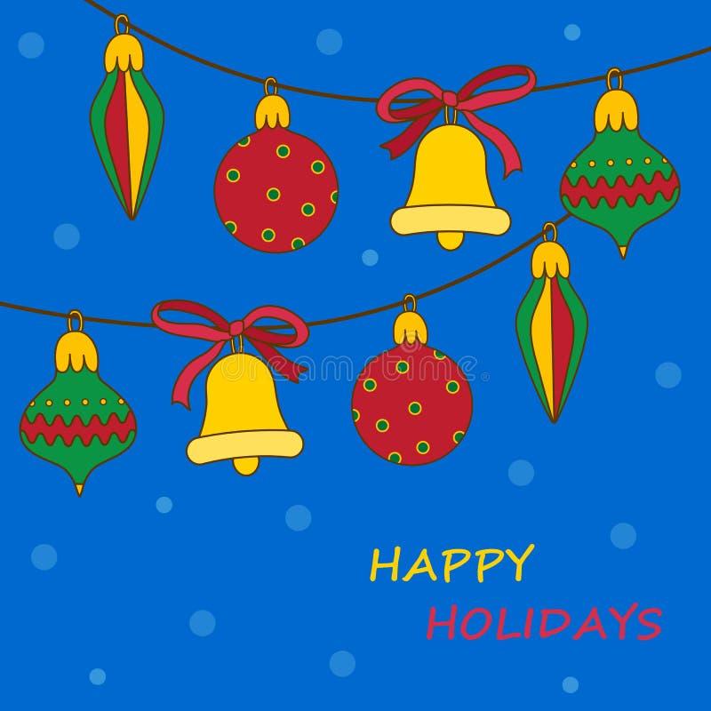 Nowy Rok kolorowe piłki na błękitnym backround Śliczny kartka z pozdrowieniami dla zima wakacji ilustracja wektor