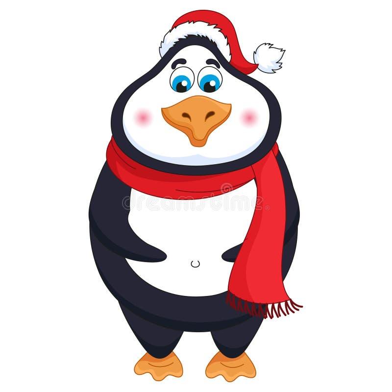 Nowy Rok kreskówka śmiesznego pingwinu w czerwonym kapeluszu, miły ptak ilustracji