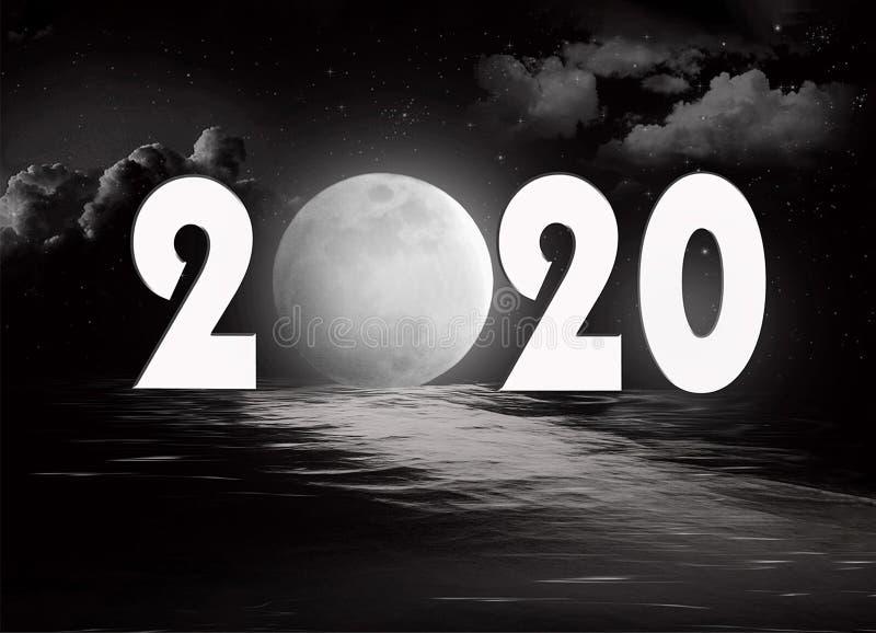 Nowy rok 2020 księżyc w pełni obrazy royalty free