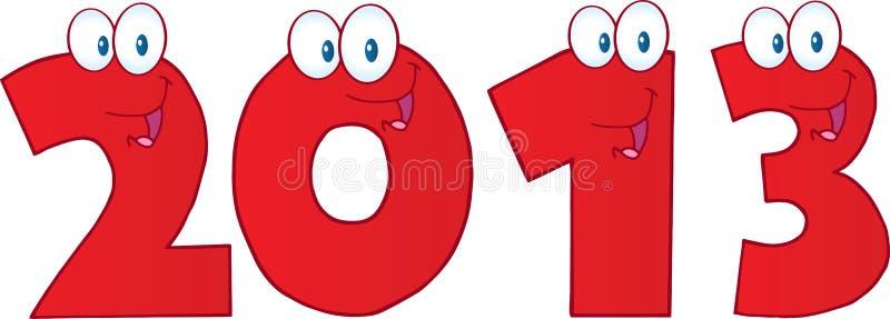 Nowy Rok Liczby Czerwone Śmieszne 2013 ilustracja wektor