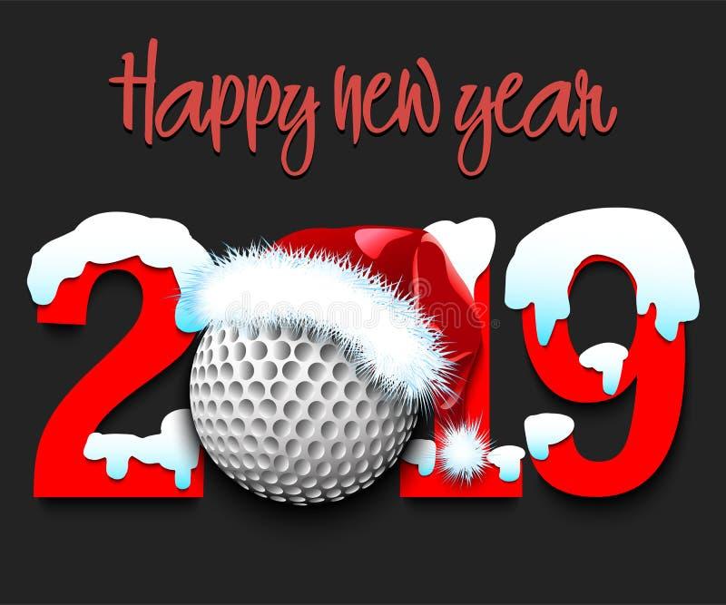 Nowy Rok liczy 2019 i piłkę golfową ilustracja wektor