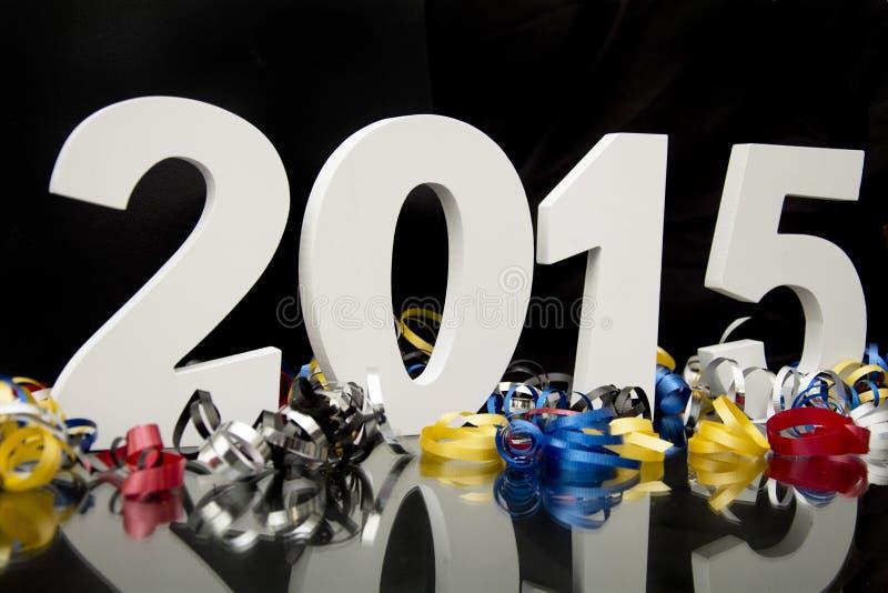 Nowy rok 2015 na czerni z confetti ilustracja wektor