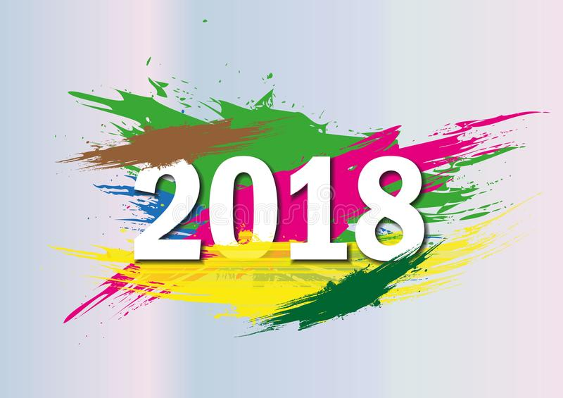 2018 nowy rok na tle kolorowy brushstroke nafcianej lub akrylowej farby projekta element dla prezentacj, ulotki, ulotki, royalty ilustracja