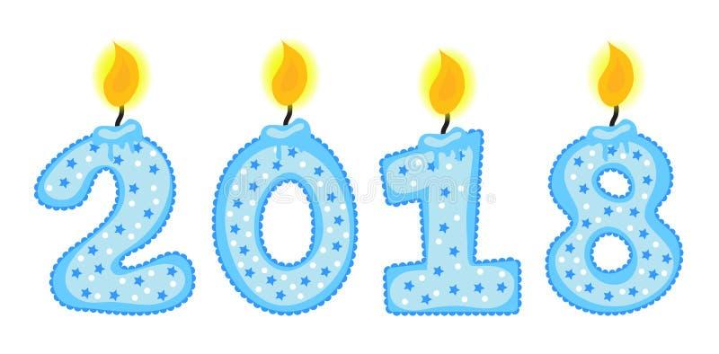 Nowy Rok 2018 oblicza, liczby świeczki, odizolowywać na białym tle również zwrócić corel ilustracji wektora ilustracji