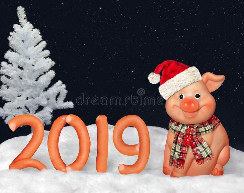 Nowy Rok 2019 od kiełbas fotografia royalty free