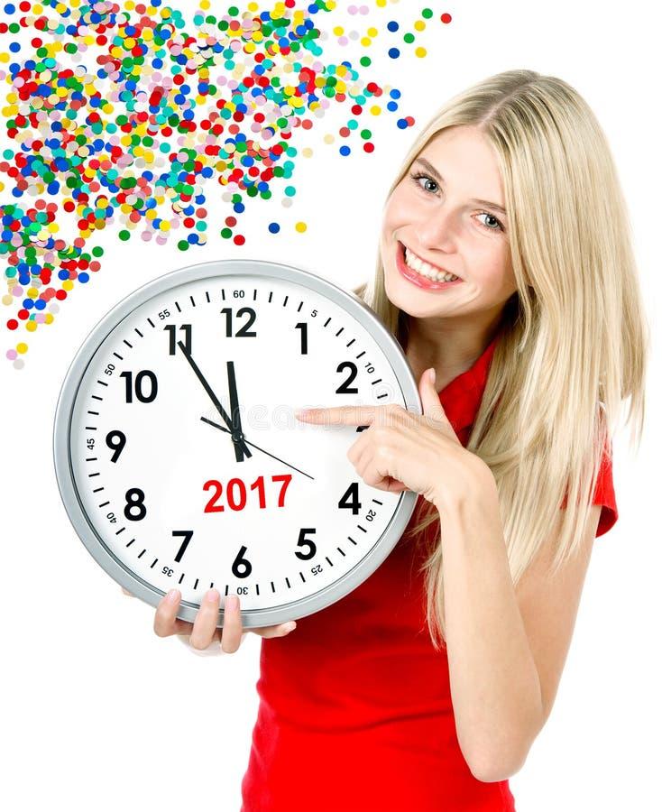 Nowy Rok 2017 Pięć, dwanaście kobiet zegaru przyjęcia duża dekoracja fotografia stock