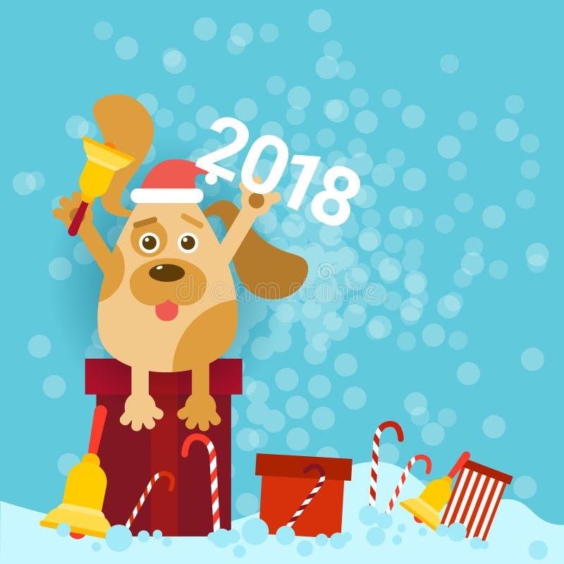 2018 nowy rok plakat Z Psim Trzymający Dzwonkowego I Jest ubranym Santa kapelusz Siedzi Na prezentach royalty ilustracja