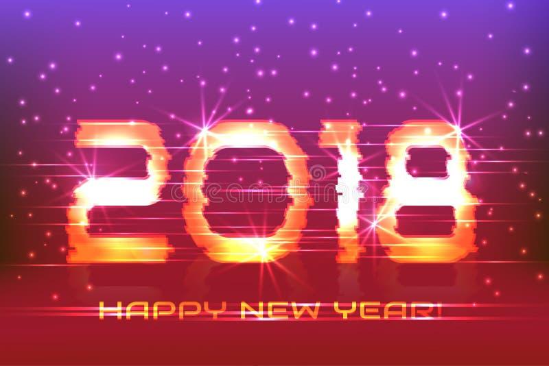 2018 nowy rok! Plakatowy cyber ilustracji