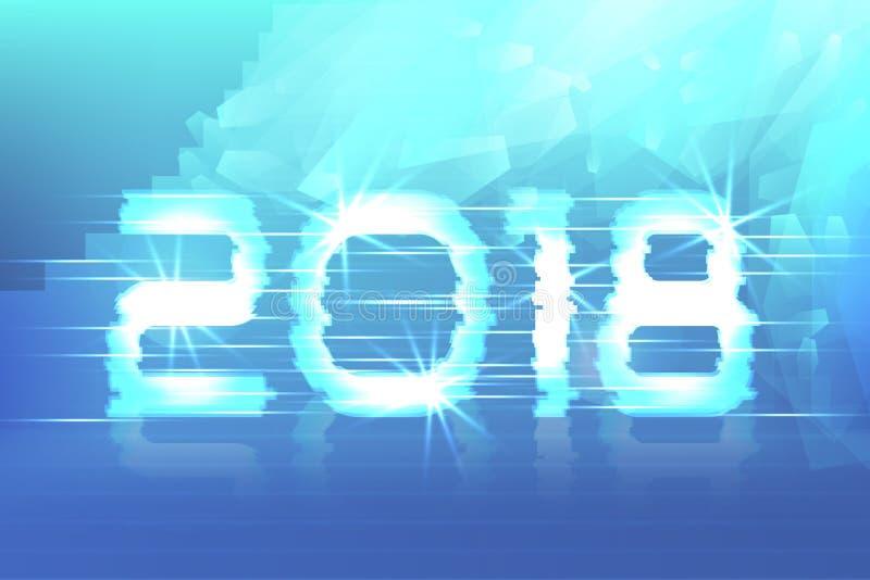 2018 nowy rok! Plakatowy cyber Magiczny tło ilustracja wektor