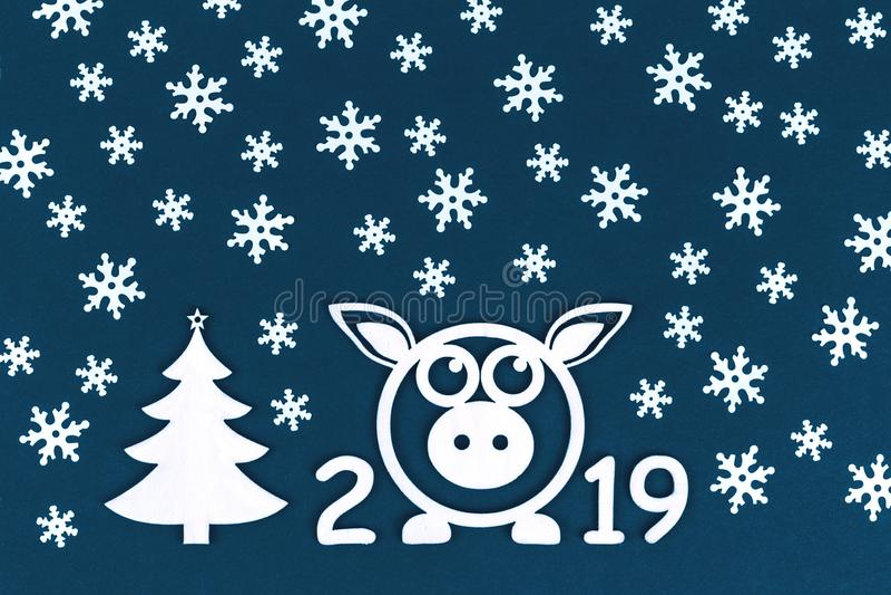 Nowy 2019 rok pojęcie z świnią i płatek śniegu obrazy royalty free