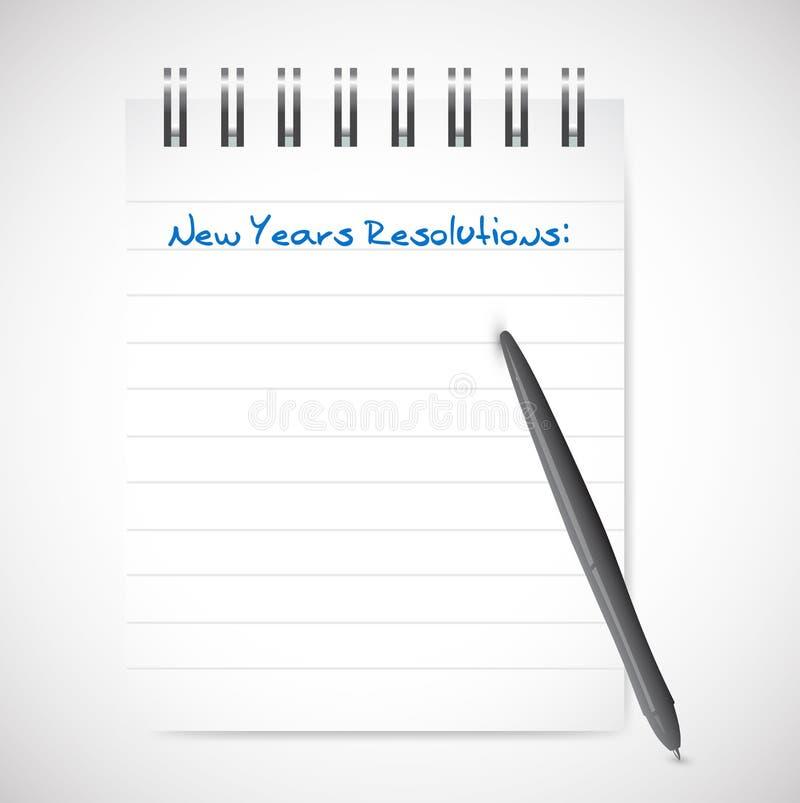 Nowy rok postanowienia notepad listy ilustraci ilustracji
